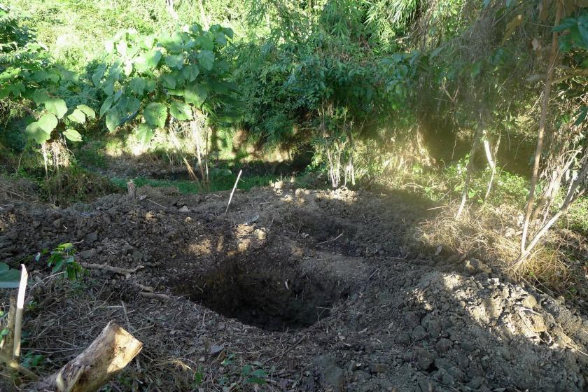 1 meter x 1 meter hole