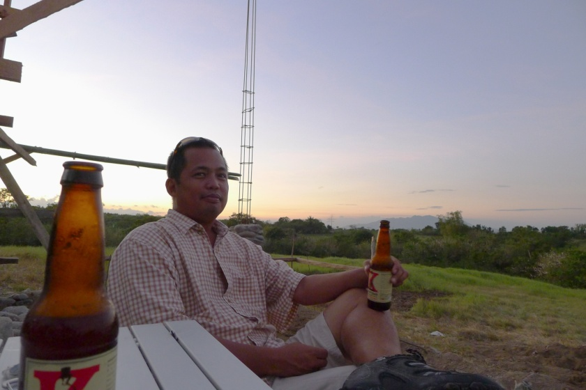 Enjoying a Philippine craft beer.