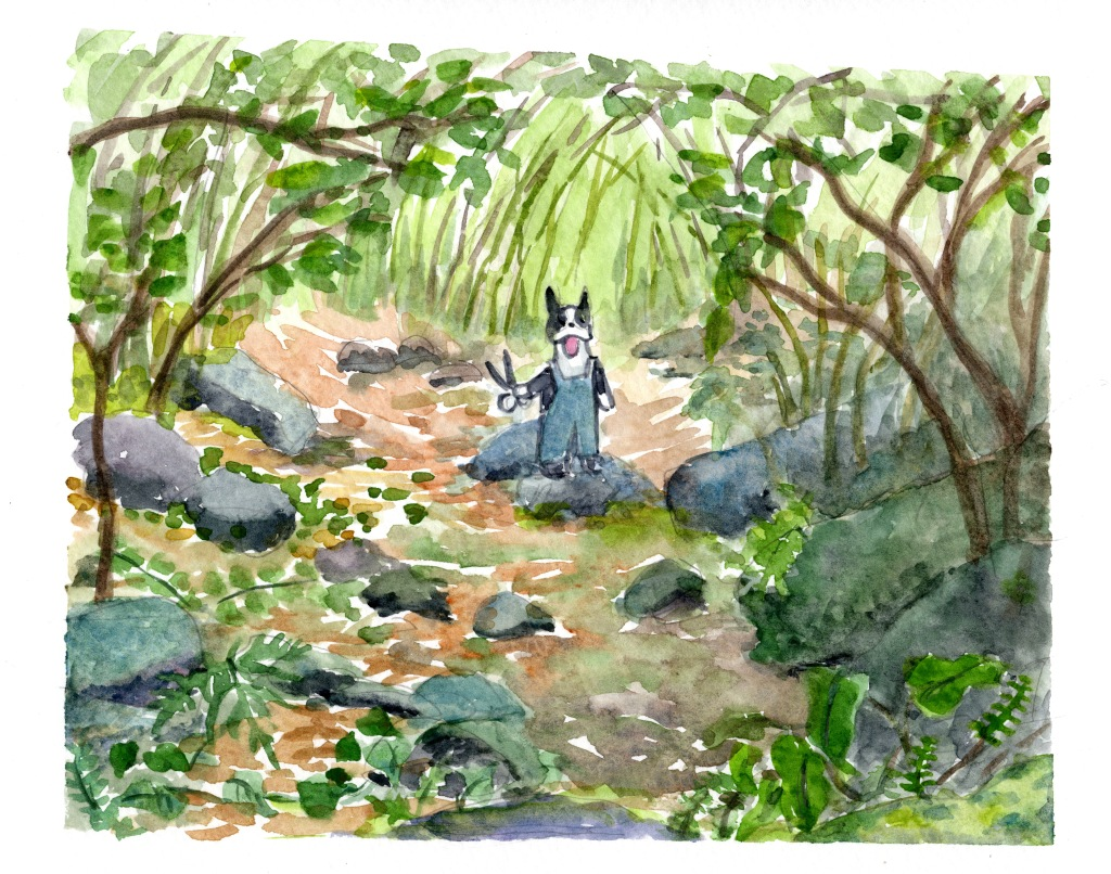 watercolor of Barkley in overalls holding pruning scissors inside a forest with ferns