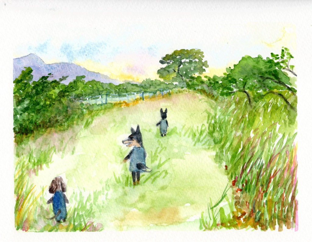 watercolor of Momo, Barkely, and Lulu walking through a field of grass